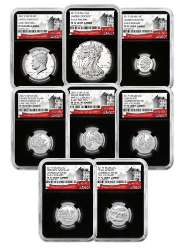 8-Coin Set - 2017-S U.S. Limited Edition Silver Proof Coin Set NGC PF70 UC ER Black Core Holder Exclusive U.S. Mint 225th Anniversary Label