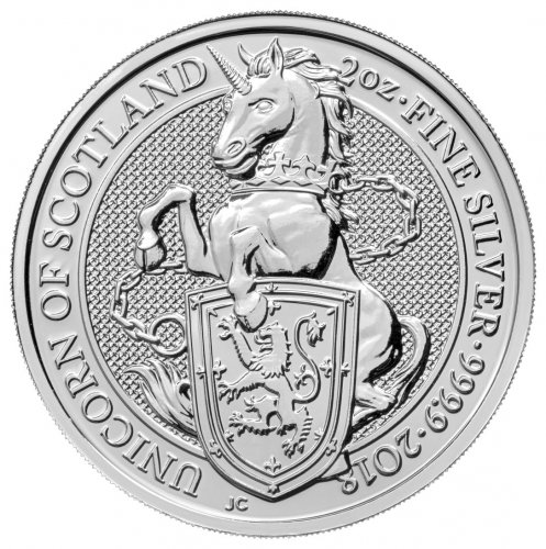 2018 Great Britain 2 oz Silver Queen's Beasts - Unicorn of Scotland £5 Coin GEM BU
