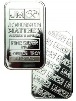 Sheet Of 20 Johnson Matthey Logo 1 Oz Silver Bars