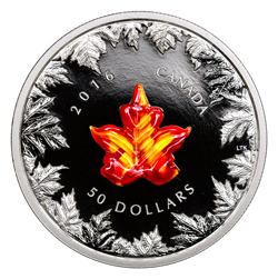 2016 Canada $50 5 oz. Proof Silver Murano Glass Maple Leaf - Autumn Radiance