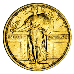 2016 1/4 oz. Gold Standing Liberty Quarter Centennial