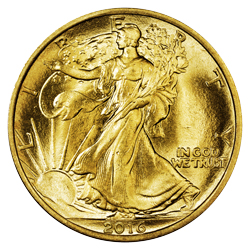 2016 1/2 oz. Gold Walking Liberty Half Dollar Centennial