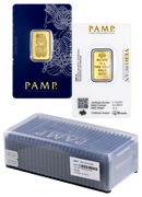 Box of 25 PAMP Fortuna 10 g Gold Bars In Assay