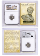 Roman Empire, Silver Denarius of Antoninus Pius (AD 138-161) - The Golden Age Hoard NGC Ch. XF (Story Vault)