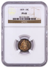 1879 Liberty Seated Dime Proof - Legend on Obverse Legend on Obverse NGC PF65