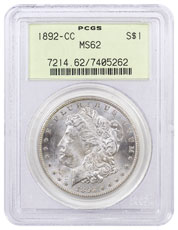1892-CC Morgan Silver Dollar PCGS MS62 (Old Green Holder)