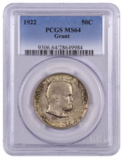 1922 Grant Memorial Commemorative - No Star Silver Half Dollar PCGS MS64