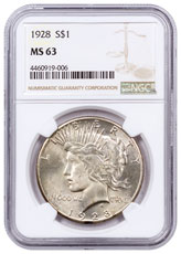 silver peace dollar ngc ms63