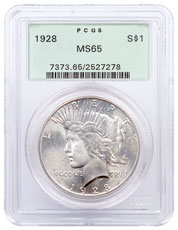 1928 Silver Peace Dollar PCGS MS65 First Generation PCGS Holder