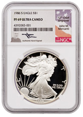 1986-S Proof American Silver Eagle NGC PF69 UC (Mercanti Signed Flag Label)