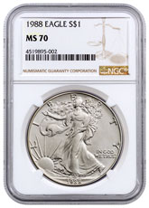 1988 American Silver Eagle NGC MS70
