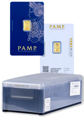Box of 25 PAMP Fortuna 1 g Gold Bars In Assay