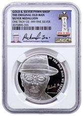 2016 Gold & Silver Pawn Shop Old Man's 71st Birthday 1 oz Silver Proof Medal NGC Genuine (Richard Harrison Sr. Auto Pen Signature Gold & Silver Pawn Label)