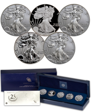 2011 Silver Eagle 25th Anniversary 5-Coin Set (OGP)