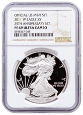 2011-W 25th Anniversary Silver Eagle Proof 25th Anniversary Set NGC PF69 UC Brown Label