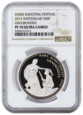 2012 Switzerland Shooting Festival Thaler - Graubunden Silver Proof Fr.50 NGC PF70 UC