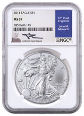 2014 American Silver Eagle NGC MS69 (Mercanti Signed Label)