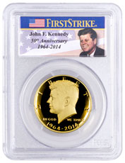 2014-W Kennedy 50th Anniversary Commemorative Half Dollar Proof PCGS PR70 DCAM FS (JFK Flag Label)