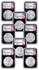 2015-2017-(P)+(W)+(S) American Silver Eagle 8-Coin Set NGC MS69 Black Core Holder Mercanti Signed Flag Label