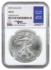 2015 American Silver Eagle NGC MS69 (Mercanti Signed Label)