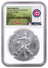 2016 American Silver Eagle NGC MS70 (World Series Champions Chicago Cubs Label)