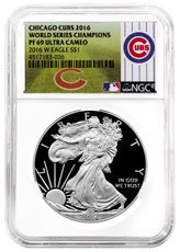 2016-W Proof American Silver Eagle NGC PF69 UC (World Series Champions Chicago Cubs Label)