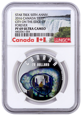 2016 Canada Star Trek - City on the Edge of Forever 1 oz Silver Colorized Proof $20 NGC PF69 UC (Exclusive Canada Label)