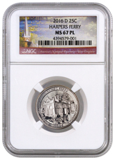2016-D Harpers Ferry National Historical Park America the Beautiful Quarter NGC MS67
