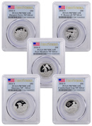 2016-S U.S. America the Beautiful Silver Proof Quarter Set PCGS PR70 DCAM FS (Flag Label)