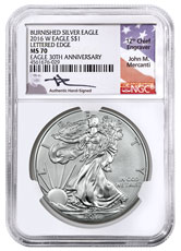 2016-W Burnished American Silver Eagle NGC MS70 Mercanti Signed Label