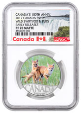 2017 Canada Celebrating Canada's 150th - Wild Swift Fox and Pups 1/2 oz Silver Colorized Matte Proof $10 Coin NGC PF70 ER (Exclusive Canada Label)