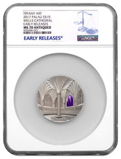 2017 Palau Tiffany Art - Wells Cathedral 2 oz Silver Antiqued $10 Coin NGC MS70 ER
