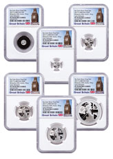 2017 Great Britain Silver Britannia - 6-Coin Silver Proof Set 20th Anniversary Trident Privy Proof Coin NGC PF70 UC ER Exclusive Big Ben Label