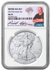 2017-(W) Silver Eagle Struck at West Point Denver ANA 2017 NGC MS70 Exclusive Rick Harrison Signed Label