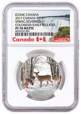 2017 Canada Iconic Canada - Spring Sightings 1/2 oz Silver Colorized Matte Proof $10 Coin NGC PF70 ER (Exclusive Canada Label)