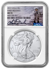2017 American Silver Eagle NGC MS70 ER Charlie Duke Signed Label (White Core)