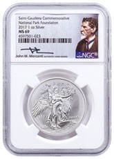 2017 United States Saint-Gaudens Winged Liberty 1 oz Silver Medal NGC MS69 Mercanti Signed National Park Foundation Label