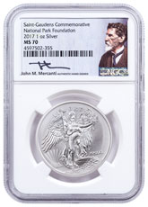 2017 Saint-Gaudens Winged Liberty 1 oz Silver Medal NGC MS70 Mercanti Signed National Park Foundation Label