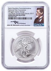 2017 Saint-Gaudens Winged Liberty 1 oz Silver Medal NGC GEM Uncirculated Mercanti Signed National Park Foundation Label