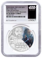 2017 Niue Star Wars: The Last Jedi - Luke Skywalker 1 oz Silver Colorized Proof $2 Coin NGC PF70 UC ER Exclusive Star Wars Label