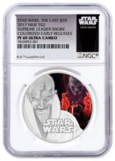 2017 Niue Star Wars: The Last Jedi - Supreme Leader Snoke 1 oz Silver Colorized Proof $2 Coin NGC PF69 UC ER Exclusive Star Wars Label