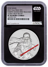 2017 Niue Star Wars - Darth Vader Ultra High Relief 2 oz Silver Colorized Proof $5 Coin NGC PF70 UC FR Black Core Holder Exclusive Star Wars Label