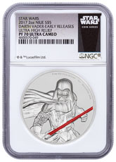 2017 Niue Star Wars - Darth Vader Ultra High Relief 2 oz Silver Colorized Proof $5 Coin NGC PF70 UC ER Exclusive Star Wars Label