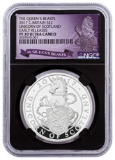 2017 Great Britain 1 oz Silver Queen's Beasts - Unicorn of Scotland Proof £2 Coin NGC PF70 UC ER Black Core Holder Exclusive Queen