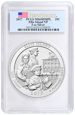 2017 Ellis Island 5 oz. Silver America the Beautiful Coin PCGS MS69 DMPL FS Flag Label