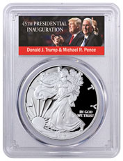 2017-W Proof Silver Eagle PCGS PR70 DCAM First Day Issue Trump & Pence Label