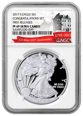 2017-S Proof Silver Eagle - Congratulations Set NGC PF69 UC FR (Exclusive U.S. Mint 225th Anniversary Label)