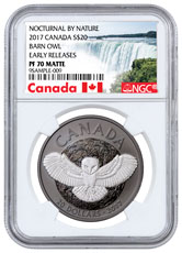 2017 Canada Nocturnal By Nature - Barn Owl 1 oz Silver Black Rhodium-Plated Matte Proof $20 Coin NGC PF70 ER (Exclusive Canada Label)
