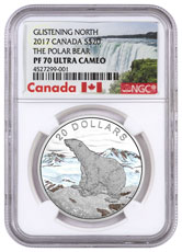 2017 Canada Glistening North - Polar Bear 1 oz Silver Colorized Proof $20 Coin NGC PF70 UC (Exclusive Canada Label)