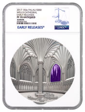 2017 Palau Tiffany Art - Wells Cathedral 1 kilo Silver Antiqued Proof $50 Coin NGC PF70 UC ER